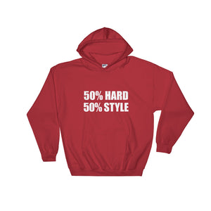 50% HARD 50% STYLE Hoodie Red by Raverabbit