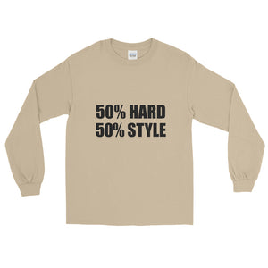 50% HARD 50% STYLE Long Sleeve T-Shirt Sand by Raverabbit