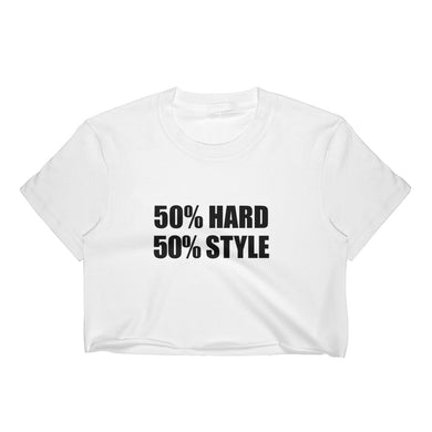 50% HARD 50% STYLE Crop Tee Women White by Raverabbit