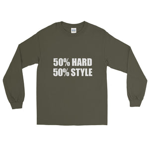 50% HARD 50% STYLE Long Sleeve T-Shirt Military Green by Raverabbit