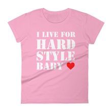 I Live For Hardstyle Baby T-Shirt Women Pink by Raverabbit