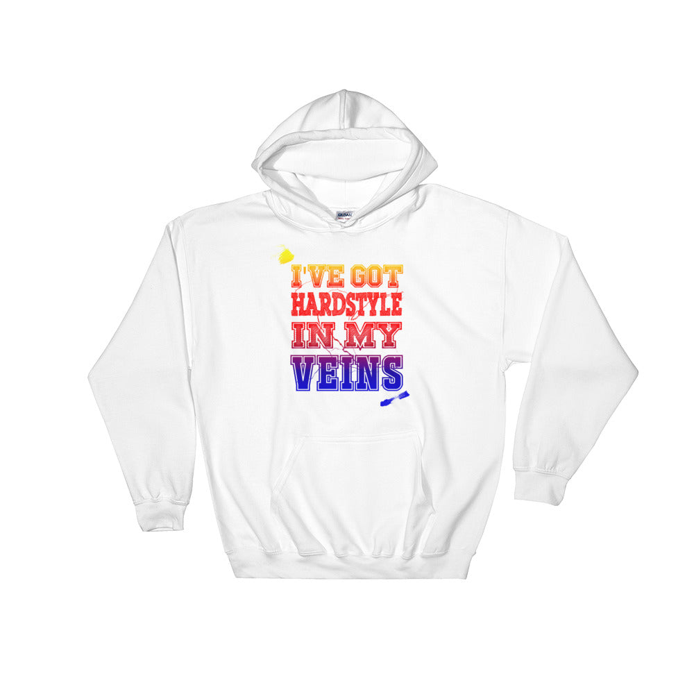 I've Got Hardstyle In My Veins Hoodie Men Women White by Raverabbit