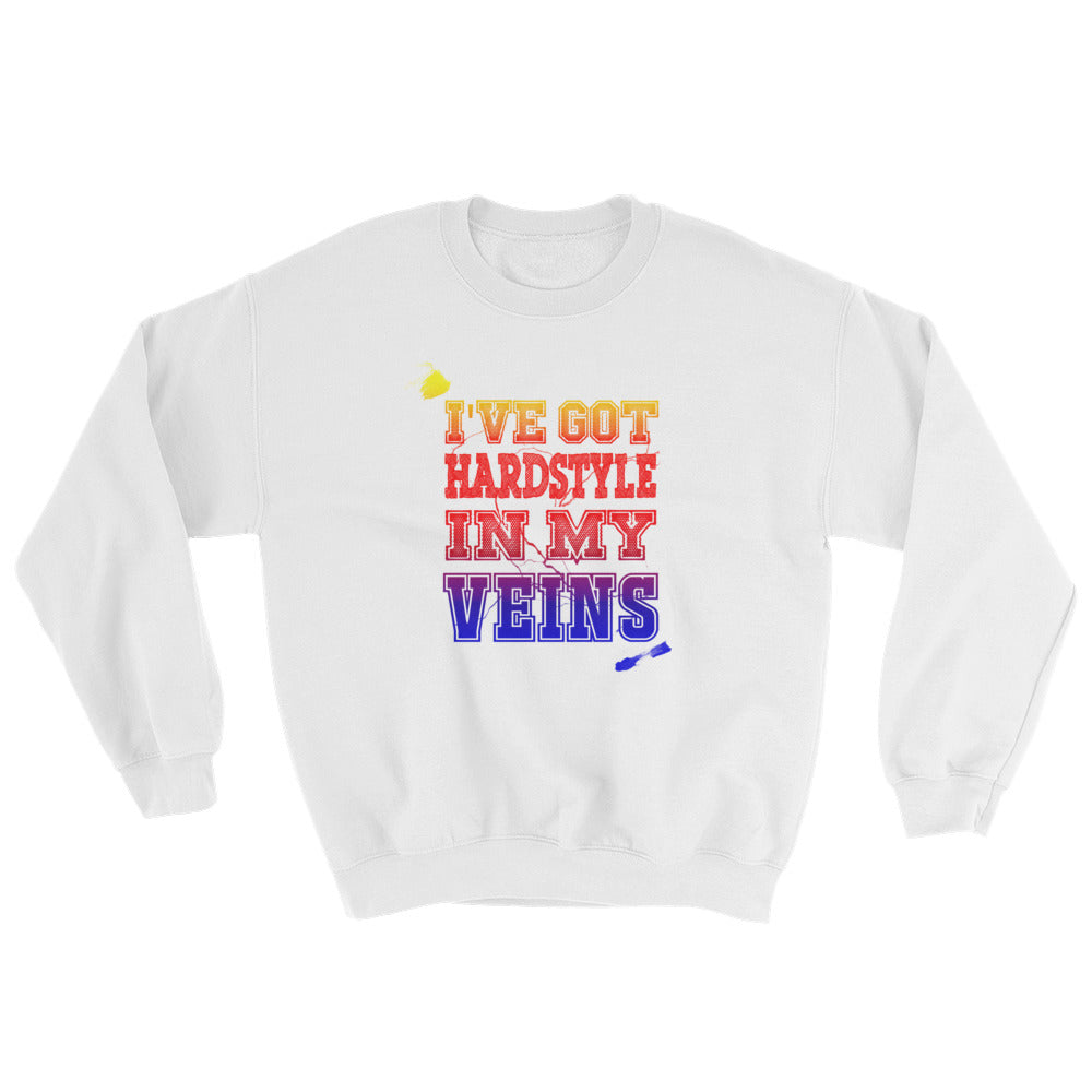 I've Got Hardstyle In My Veins Sweatshirt Men Women White by Raverabbit
