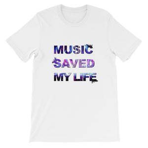 Music Saved My Life T-Shirt Men White by Raverabbit