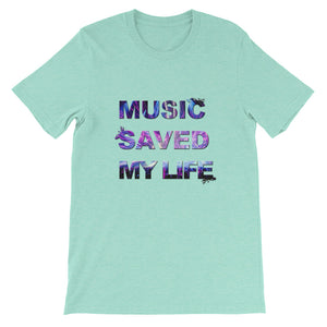 Music Saved My Life T-Shirt Men heather mint by Raverabbit