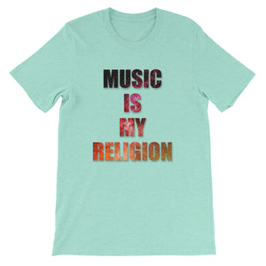 Music Is My Religion T-Shirt Men heather mint by Raverabbit