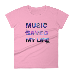 Music Saved My Life T-Shirt Women Pink by Raverabbit