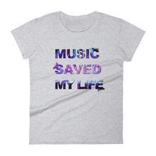 Music Saved My Life T-Shirt Women Heather Grey by Raverabbit
