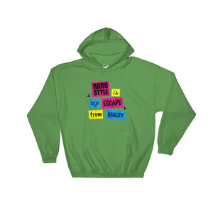 Hardstyle Is My Escape From Reality Hoodie Men  Women Green by Raverabbit
