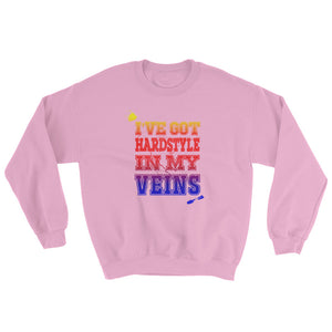I've Got Hardstyle In My Veins Sweatshirt Men Women Pink by Raverabbit