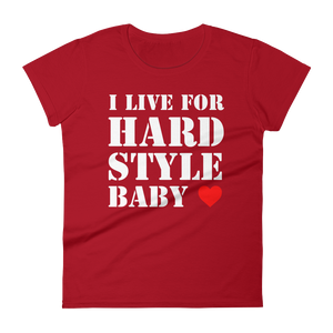I Live For Hardstyle Baby T-Shirt Women Red by Raverabbit