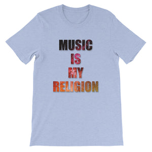 Music Is My Religion T-Shirt Men heather blue by Raverabbit