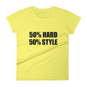 50% HARD 50% STYLE T-Shirt Women Spring Yellow by Raverabbit