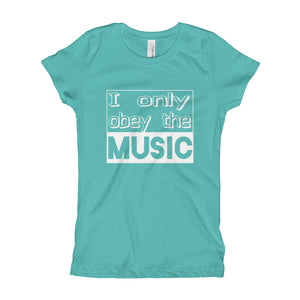I Only Obey The Music T-Shirt Girls Tahiti Blue by Raverabbit