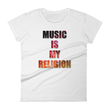 Music Is My Religion T-Shirt Women White by Raverabbit