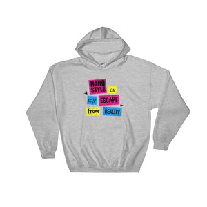 Hardstyle Is My Escape From Reality Hoodie Men  Women Grey by Raverabbit