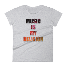 Music Is My Religion T-Shirt Women heather grey by Raverabbit