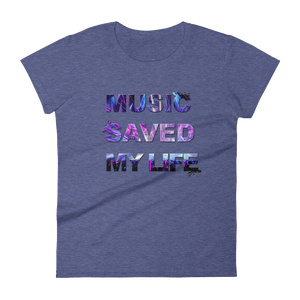 Music Saved My Life T-Shirt Women Heather Blue by Raverabbit