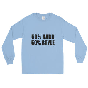 50% HARD 50% STYLE Long Sleeve T-Shirt Light Blue by Raverabbit