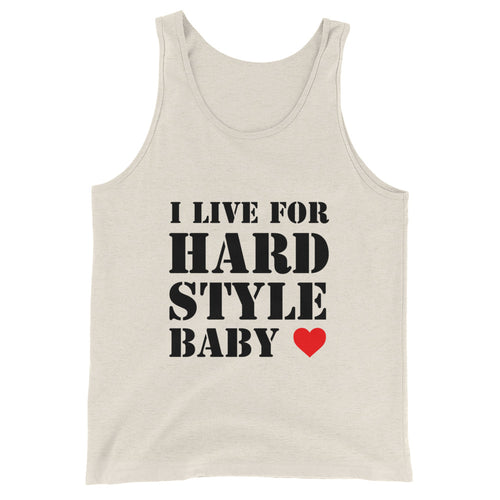 I Live For Hardstyle Baby Tank Top Men Women Indigo Oatmeat by Raverabbit