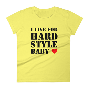 I Live For Hardstyle Baby T-Shirt Women Spring Yellow by Raverabbit