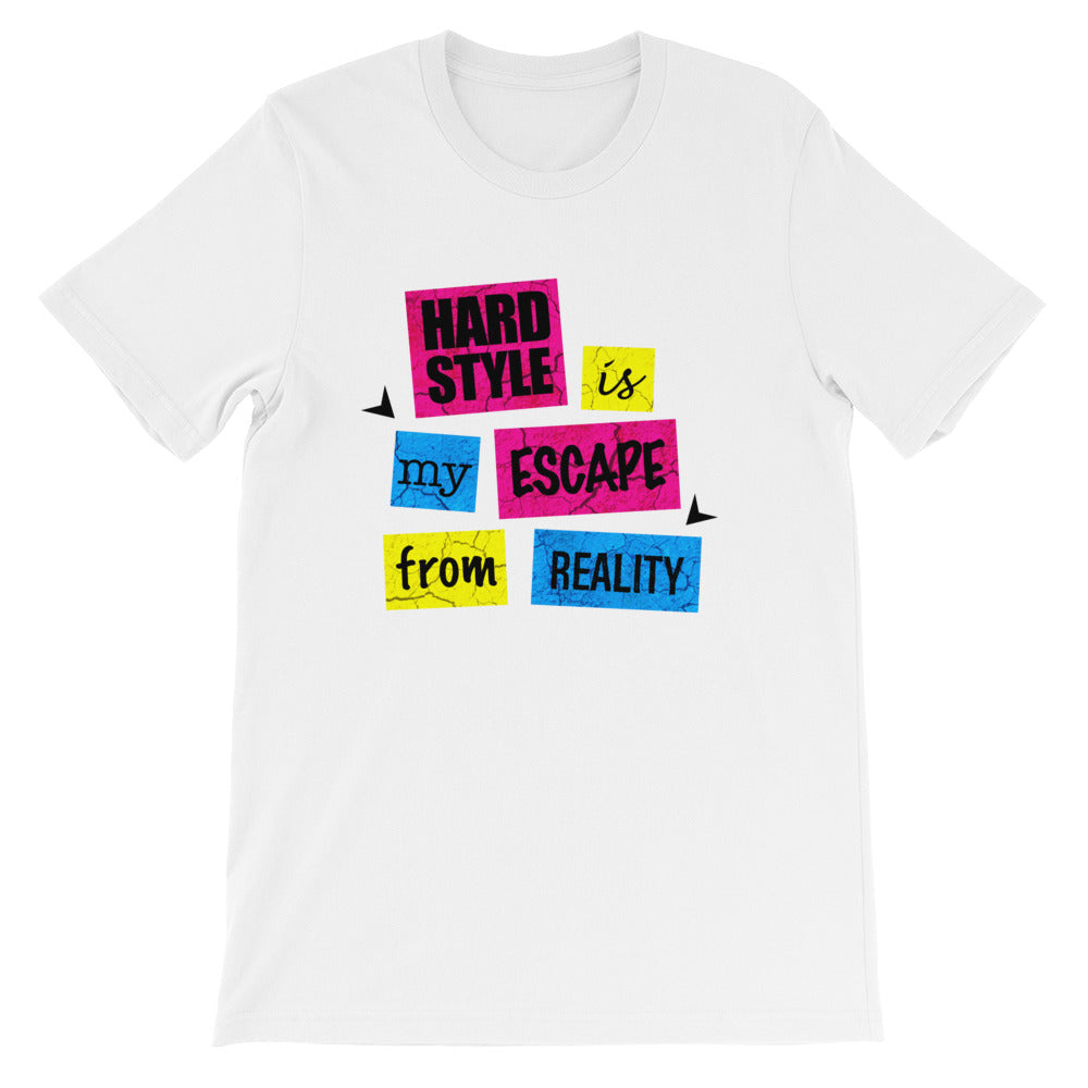 Hardstyle Is My Escape From Reality T-shirt Men White by Raverabbit