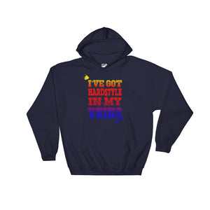 I've Got Hardstyle In My Veins Hoodie Men Women Navy by Raverabbit