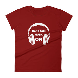 Don't Talk Music On T-shirt Women Red by Raverabbit