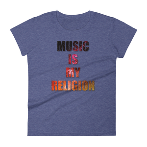 Music Is My Religion T-Shirt Women heather blue  by Raverabbit