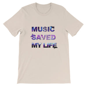 Music Saved My Life T-Shirt Men soft cream by Raverabbit