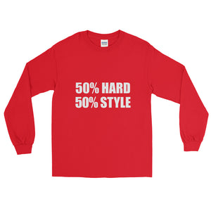 50% HARD 50% STYLE Long Sleeve T-Shirt Red by Raverabbit