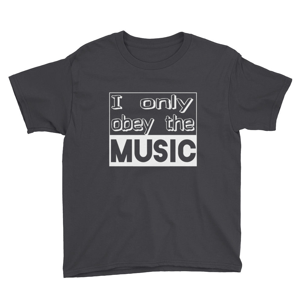 I Only Obey The Music T-Shirt Boys Black by Raverabbit