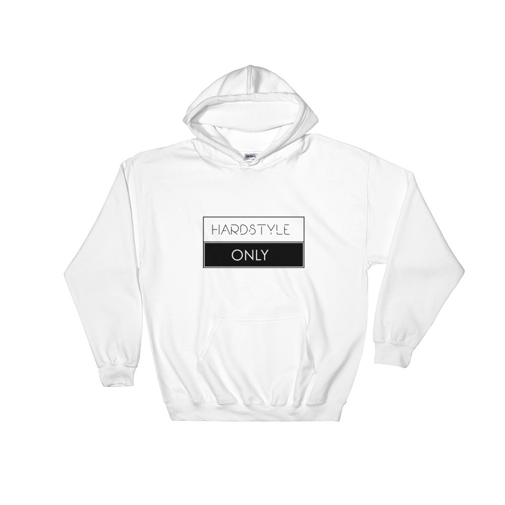 Hardstyle Only Hoodie Men Women White by Raverabbit