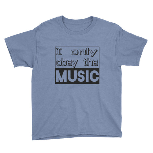 I Only Obey The Music T-Shirt Boys Light Blue by Raverabbit