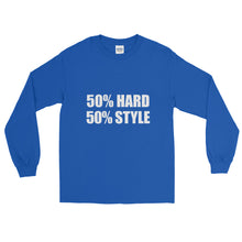 50% HARD 50% STYLE Long Sleeve T-Shirt Royal Blue by Raverabbit