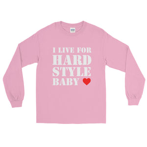 I Live For Hardstyle Baby Long sleeve Men Women Pink by Raverabbit