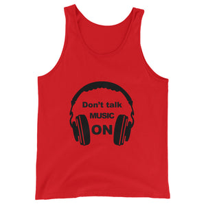 Don't Talk Music On Tank Top Men and Women Red  by Raverabbit