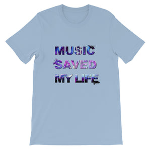 Music Saved My Life T-Shirt Men heather blue by Raverabbit