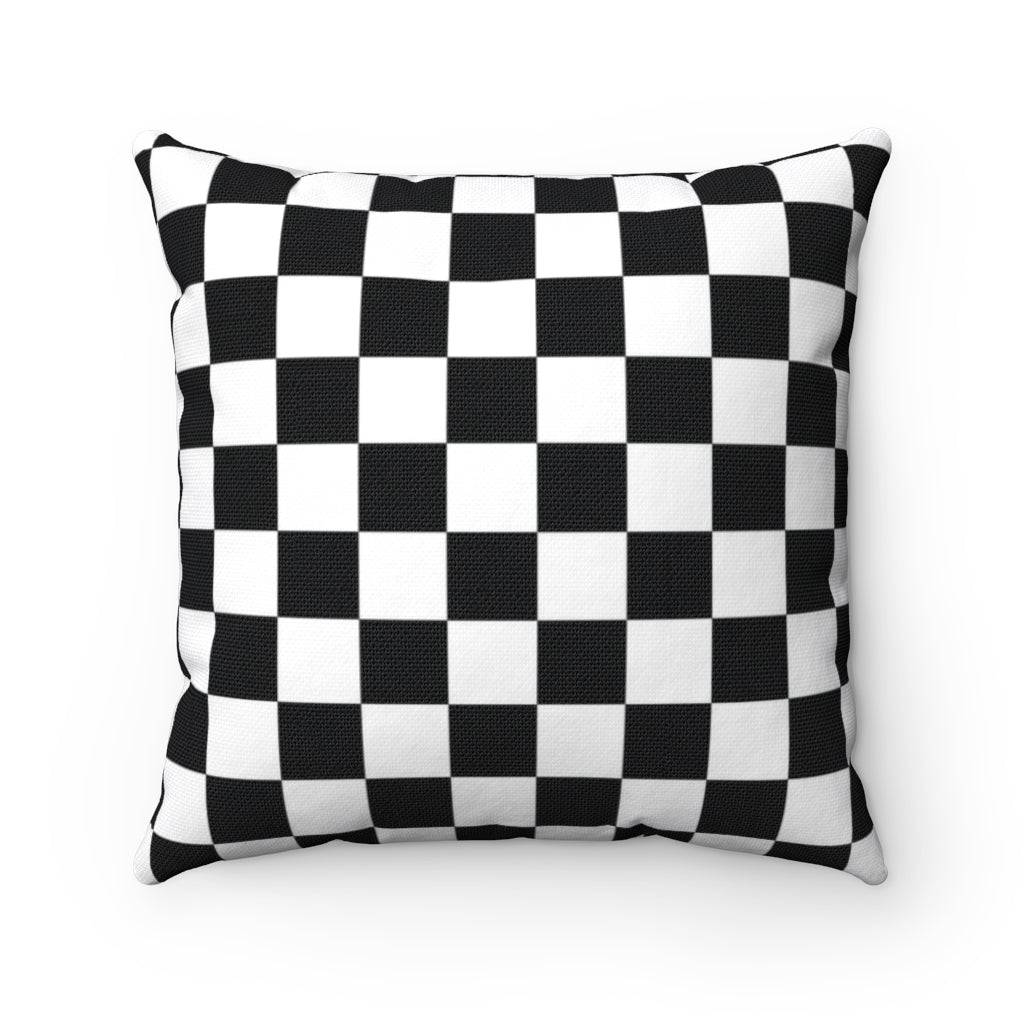 Black and white checkered decorative cushion cover