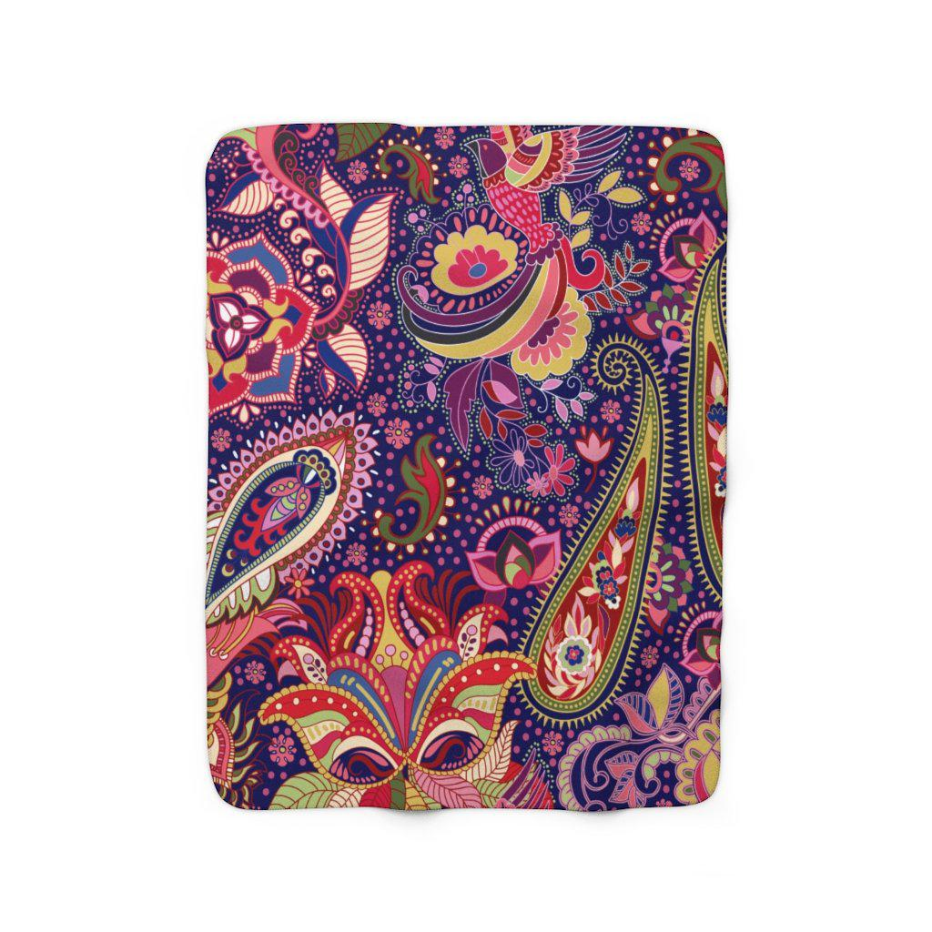 Paisley Sherpa Fleece Blanket