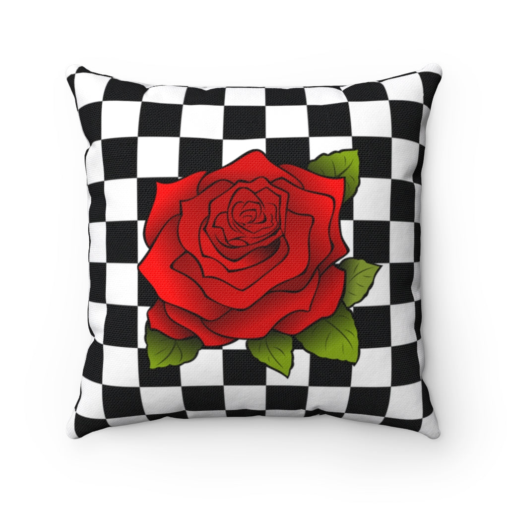 Rose on Black and white checkered decorative cushion cover