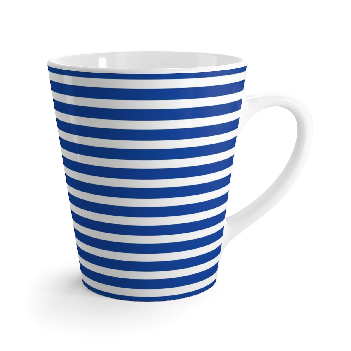 12 oz (0.35l) blue stripes white latte ceramic mug-Mug-Printify-12oz-Très Elite