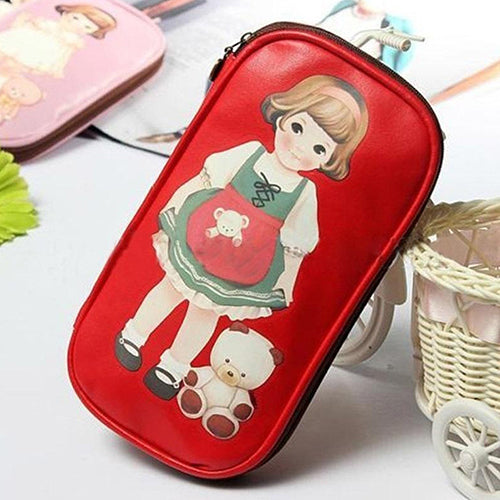 Cute Cartoon Doll Girl Pattern Pen Pencil Case Bag Cosmetic Makeup Bag