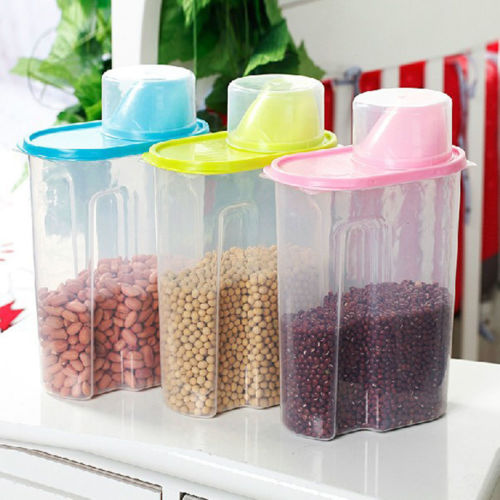 2.5L Large Rice Cereal Bean Dry Food Storage Dispenser Container Lid Sealed Box