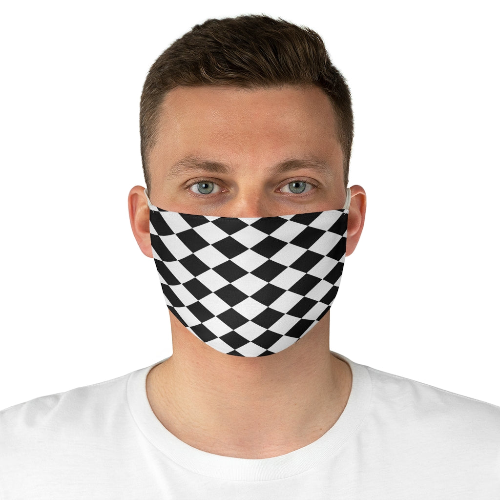 Black and white Checked Fabric Face Mask