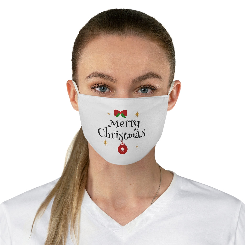 Merry Christmas white Fabric Face Mask
