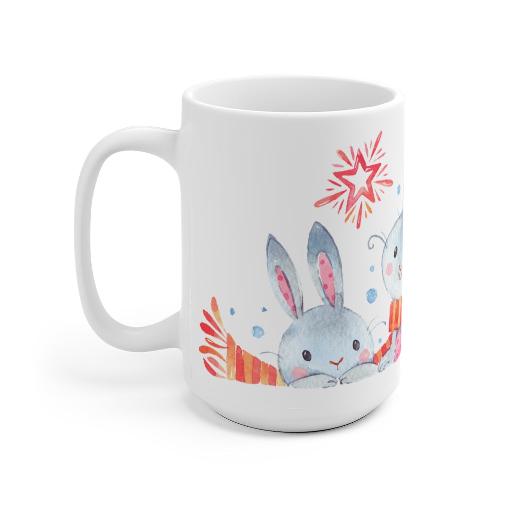 Cute rabbits Christmas Holidays winter ceramic mug