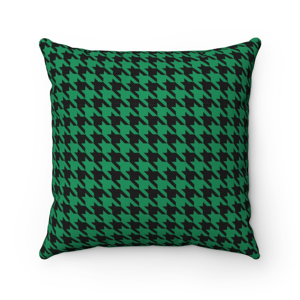 Green Houndstooth Decorative Cushion Cover