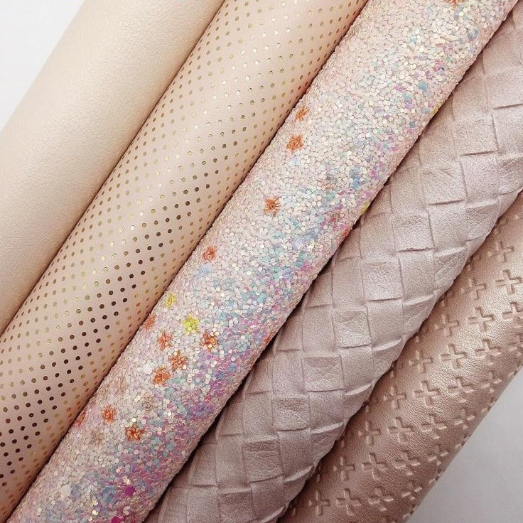 BEIGE Glitter Fabric, Cross Weaving Faux Fabric, Dots Synthetic Leather Fabric Sheets For Bow A4 21x29CM Twinkling