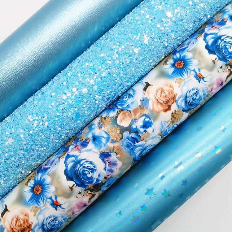BLUE Glitter Fabric, flowers Synthetic Leather, Metallic Faux Fabric Sheets For Bow A4 21x29CM Twinkling Ming XM023B